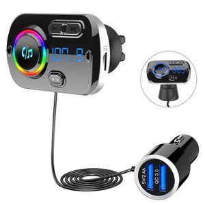 Bluetooth 5.0 FM Transmitter,Auto Bluetooth Radio Adapter Freisprecheinrichtung KFZ MP3 Player Kit mit QC3.0 Schnellladung, Unterstützungs TF Karte AUX Ausgang, Siri Google, 7 LED Farblicht