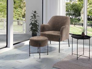 HOMEXPERTS Sessel TIFFY, Polstersessel in Cord braun, Metallbeine schwarz, passender Hocker erhältlich