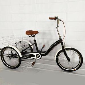 20 Zoll Dreirad Erwachsene Fahrrad Seniorenrad Senioren 3 Räder Bike Schwarz mit Einkaufskorb Shopping Erwachsenendreirad