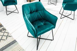 Exklusiver Design Stuhl LOFT Samt türkis mit Armlehne Esszimmerstuhl Samtstoff Armlehnenstuhl