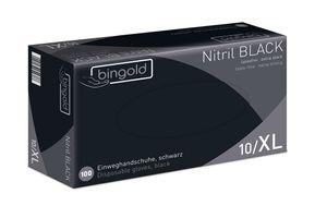 BINGOLD Nitril 35 Einweghandschuhe Schwarz, puderfrei, AQL 1,5, VE 100 Stück - Größe L