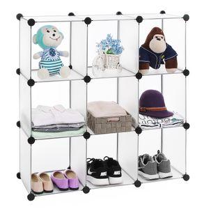 SONGMICS Regalsystem mit 9 Fächern 93 x 123 x 31 cm Cube Aufbewahrung Sideboard Aufbewahrungsbox weiß LPC115S