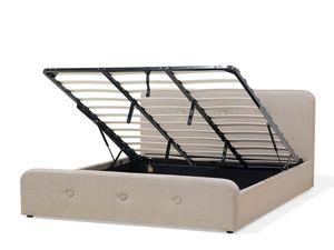 Polsterbett beige mit Bettkasten hochklappbar 180 x 200 cm RENNES