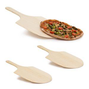 relaxdays 3 x Pizzaschaufel Pizzaheber Pizzawender Holz, Ofenschaufel Pizza, Pizzaschieber