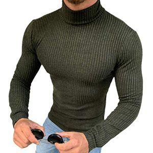 Megaman Herren Rollkragenpullover Rolli Hoher Rollkragen Pulli Shirt in  Sweater Warrm Größe L Grün