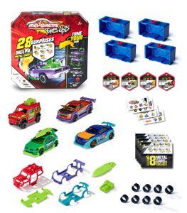 Majorette - Tune Ups Series 1, 4er Set mit 28 Überraschungen, Spielzeugautos aus Metall zum Tunen, 4 von 18 Autos, inkl. Tuning-Zubehör, Sammelboxen und Stickern