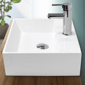 ECD Germany Waschbecken Waschtisch 415 x 360 x 130 mm aus Keramik Eckig Weiß mit Überlauf - Aufsatzbecken Aufsatzwaschbecken Handwaschbecken Aufsatzwaschtisch Spülbecken Becken Wasserfall Waschschale Waschschlüssel