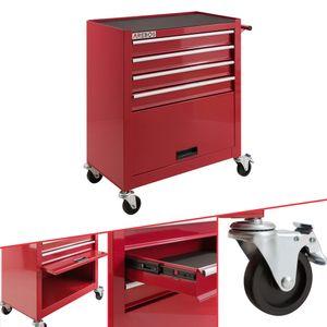AREBOS Werkstattwagen 4 Schubladen + 1 Kabinett, rot - direkt vom Hersteller