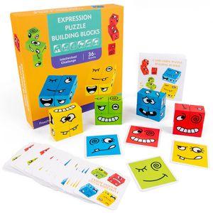 Holzwürfel Spielzeug, Zauberwürfel-Bausteine, Spielzeug Gesicht ändern Würfel, Geschenk für Kinder Vorschule