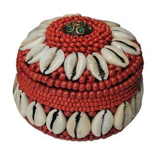 Schmuckschatulle handgefertigt Schmuckkästchen Schmuckkasten Schmuckbox Schmuckkoffer mit Nepal Bunte Perlen Muschel