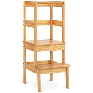 COSTWAY 2 Stufen Lernturm, Lerntower bis zu 90kg belastbar, Lernstuhl Küchenhelfer, Kinder Schemel aus Holz, fürs Badezimmer, Schlafzimmer, Wohnzimmer