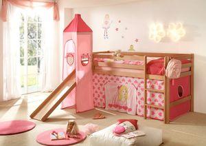 Hochbett Kinderbett Bett Etagenbett Rutsche Turm Vorhang Buche Kinderzimmer , Ausführung:CINDY Prinzessin Rosa/Pink
