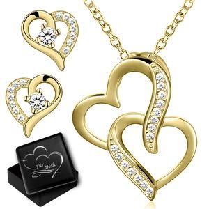 Schmuckset Herzkette für Damen Herz  Hals Kette mit Ohrringe echt 925 Sterling Silber Set Ohrstecker Anhänger gold Gravur Dose K971+K973+V12