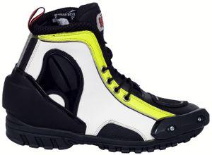 German Wear, Biker Motorradstiefel Motorrad Racing Touring Stiefel stiefletten Rot/ Gelb 17cm, Schuhgröße:44, Farbe:Gelb