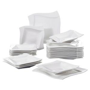 MALACASA, Serie Amparo, Porzellan Tafelservice 24 tlg. Kombiservice 12 Speiseteller und 12 Suppenteller für 12 Personen