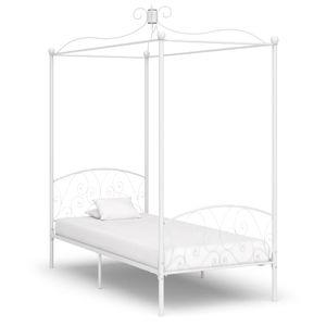 Modernem - Himmelbett-Gestell Bettgestell Weiß Metall 90 x 200 cm - Doppelbett Designbett Jugendbett