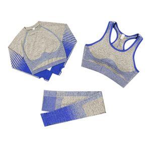 3Pcs Frauen Yoga Anzug Nahtlose Sportbekleidung Sets Langarm Bar & Hose Workout Trainingsanzug Fitnessstudio Sportbekleidung Leggings Hoch taillierte Yogahose Kleidung mit Daumenloch