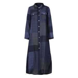 ZANZEA Frauen Blusenkleider übergroße Retro Langarm lose Tunika Shirt Kleid Maxikleider, Farbe: Blau, Größe: 5XL