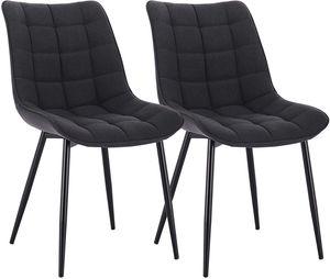 WOLTU Esszimmerstühle BH206dgr-2 2er-Set Küchenstuhl Polsterstuhl Wohnzimmerstuhl Sessel mit Rückenlehne, Sitzfläche aus Leinen, Metallbeine, Dunkelgrau