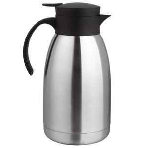 Thermoskanne Kaffeekanne Edelstahl 2 Liter Isolierkanne Teekanne Thermo Kaffee Tee Kanne Einhandautomatik
