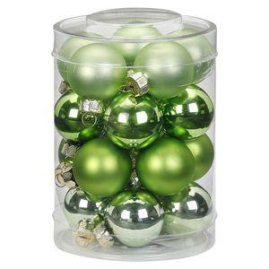 Weihnachtskugeln Glas 3cm, 20 Stück, Farbe:Sparkling Nature - grün hellgrün
