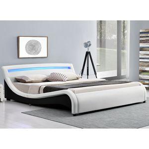 Juskys Polsterbett Malaga 180 x 200 cm – Bett mit Lattenrost & LED Beleuchtung im Kopfteil – Holz Bettgestell mit Kunstleder – Doppelbett weiß