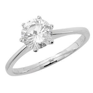 Klassischer 925 Sterling Silber Solitär Verlobung Damen - Ring mit Zirkonia, 63 (20.1); WJS22152