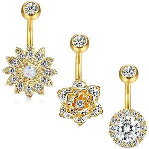 Mllaid 3 Stück Bauchnabel Ring Set Exquisite Schöne Kristall Bauch Ringe Kreative Blume Design Körperschmuck Sicher Bauch Ringe