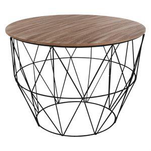 Kaffeetisch, Korbtisch im Loft-Stil, rund, schwarz mit Holzplatte, Farbe:schwarz