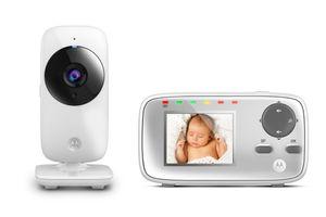 Motorola Baby MBP 482 Video Babyphone / Baby-Überwachungskamera mit Zoom / 2.4 Zoll Farbdisplay / Infrarot-Nachtsicht und 300 Meter Reichweite, weiß