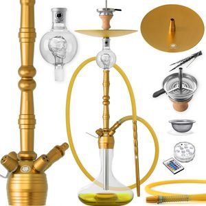 DILAW® Shisha MANYAK 93cm Komplettset Aluminium Alu Wasserpfeife Hookah, Farbe:Gold