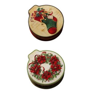 Weihnachten Weihnachten Runde Blechdose Keksdose Aufbewahrungsbox Geschenkbox 2St