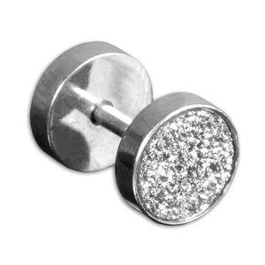 viva-adorno 1 Stück Fake Plug Ohrstecker mit Schraubverschluss Edelstahl Glitzer Design 1,2mm Z477,Fake Plug Silber