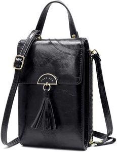 Handtasche Damen Umhängetasche Handytasche Zum Umhängen Geldbörse Portemonnaie mit Vielen Fächern Kartenfach - Verstellbare Schultergurte,Schwarz