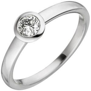 JOBO Damen Ring 54mm 585 Gold Weißgold 1 Diamant Brillant 0,25ct. Weißgoldring Diamantring