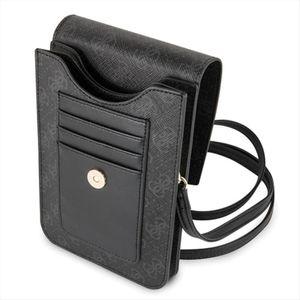 Guess Saffiano Look Collection Universal Handtasche für Smartphone Wallet Kartenfach Schwarz mit Muster