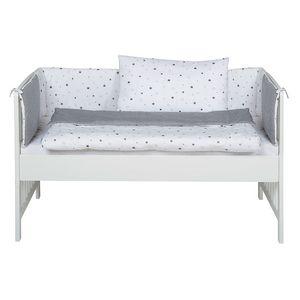 Schardt Beistellbett Micky 60x120 cm,  weiß lackiert inkl. Komfort-Matzratze und textiler Ausstattung Sternchen grau