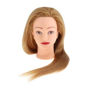 Weibliche Mannequin Kopf Friseur-kosmetik Manikin Dummy Puppe Haar styling Hellgelb Haartrainingskopf 24,8 Zoll Haare