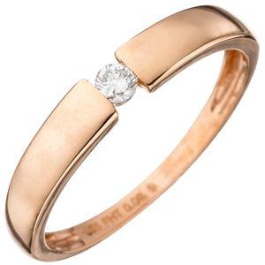 Solitär Ring Damenring mit Diamant Brillant 585 Gold Rotgold Diamantring, Ringgröße:Innenumfang 56mm  Ø17.8mm