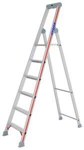 Hymer Stufenstehleiter mit Plattform, einseitig begehbar, 6 Stufen, senkr. Höhe 1,95 m, Reichhöhe 3,35 m, Gewicht 6,4 kg