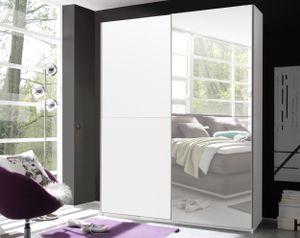 Kleiderschrank Schwebetürenschrank Schiebetürenschrank Spiegel PULS Weiß 170 cm