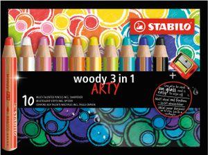 Buntstift, Wasserfarbe & Wachsmalkreide - STABILO woody 3 in 1 - ARTY - 10er Pack - mit 10 verschiedenen Farben und Spitzer