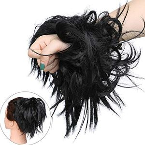 Haar Extensions Haarverlängerung Haarteil Dutt Haargummi Hochsteckfrisuren wie Echthaar Schwarz