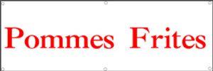 Werbeplane / Gerüstplane - p28 - Pommes / Imbiss - Plane - Banner150cm x 50 cm - für Baustelle, Garten, Zaun oder Veranstaltung