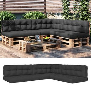 Vicco Palettenkissen Sitzkissen + Rückenkissen + Seitenkissen 15cm hoch Palettenmöbel (7er Set, Anthrazit)