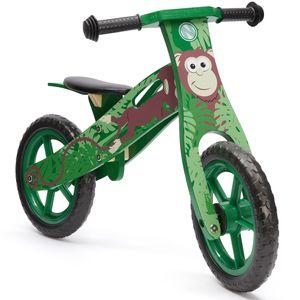 wuuhoo I Kinder-Laufrad Monkey Holz Dschungel-Design grün mitwachsend Rutschrad Roller ab 2 Jahre