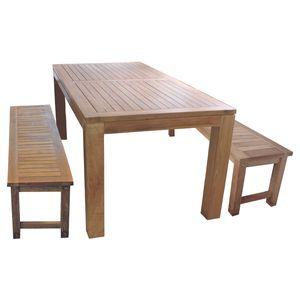 Sitzgruppe Teakholz 180x90x75cm Tisch + 2 Bänke Teak