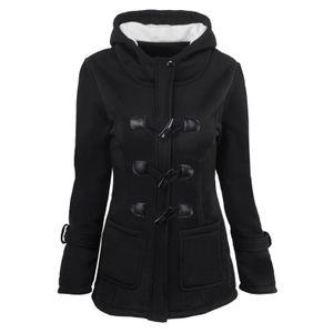 Frauen einfarbige Hornknöpfe Strickjacke gepolsterte Kapuzenmantel Jacke Mantel Größe:XXXXL,Farbe:Schwarz