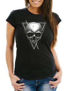 Damen T-Shirt Neverless Skull Totenkopf Hipster Triangle Slim Fit Neverless® schwarz M