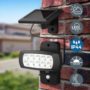LED Solar Außenleuchte mit PIR Bewegungssensor Wand-Lampe Außenstrahler IP44 schwarz B.K.Licht